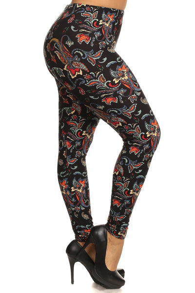 Floral/abstract Print, Full Length Leggings In A Slim Fitting Style With A Banded High Waist