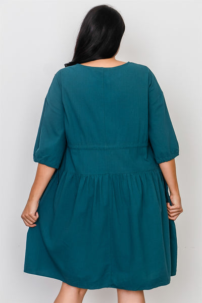 Plus Size Black Tie Sleeve Loose Midi Dress