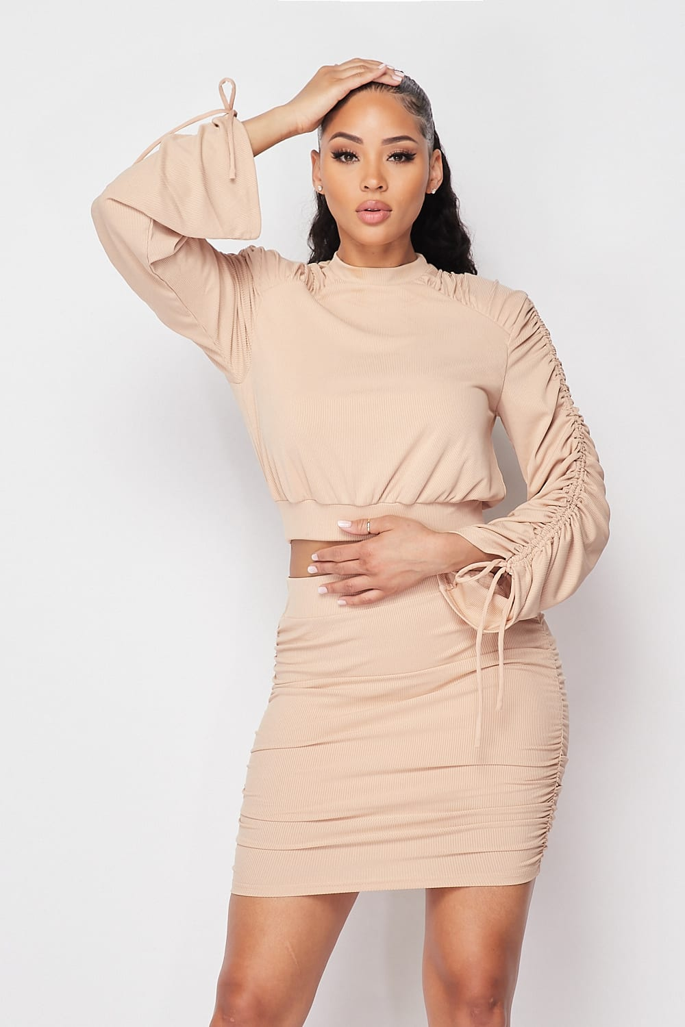 Ruched Long Sleeve And Skirt Set