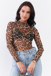 Taupe Brown Jaguar Print Sheer Mesh Mock Neck Long Sleeve Bodysuit