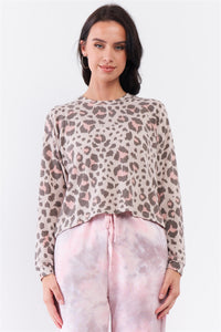 Taupe & Pink Leopard Print Crew Neck Relaxed Long Sleeve Top
