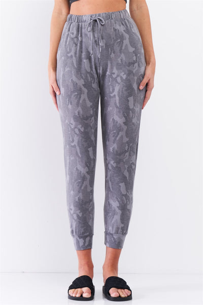 Grey Camo Print Loose Fit High-waisted Elasticated Self-tie Drawstring Waistline Track Pants