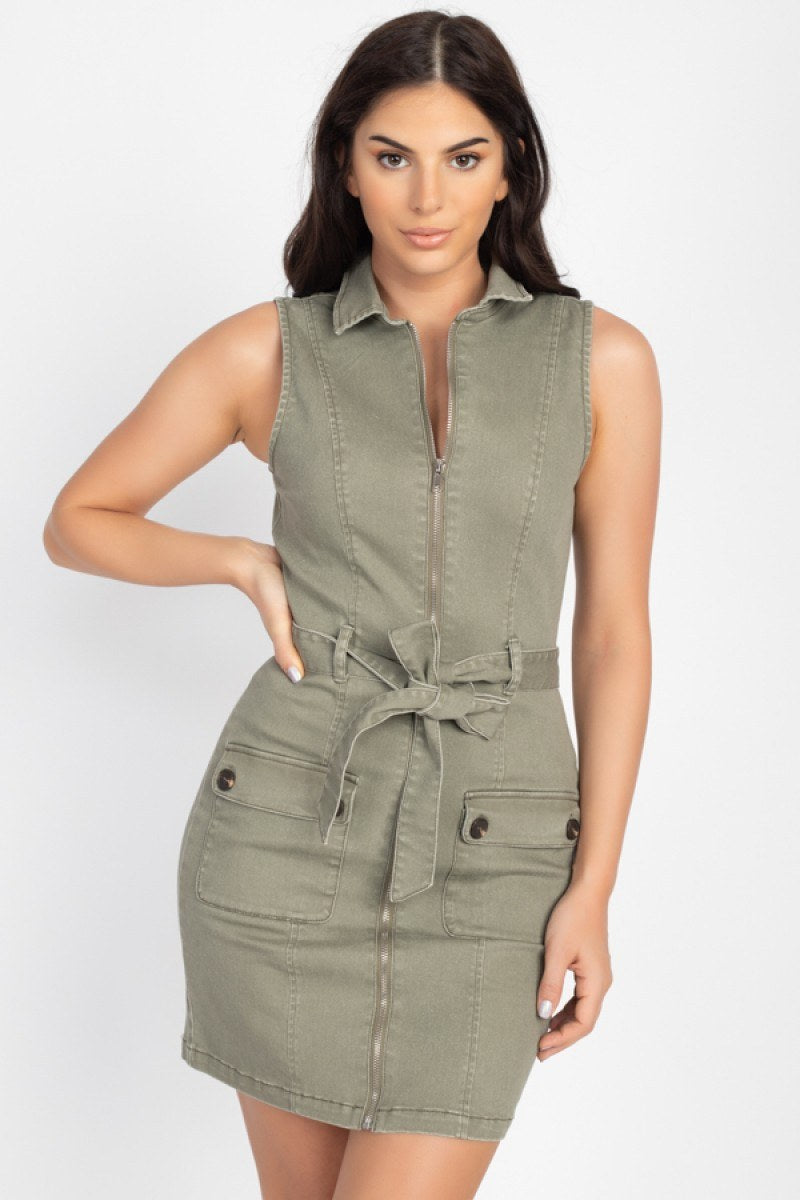 Belted Cargo Pockets Mini Dress