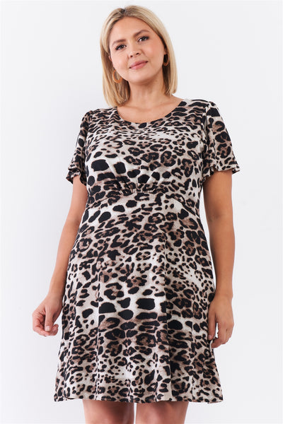 Leopard Print Back Self-tie Neck Detail Babydoll Cut Mini Dress
