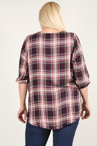 Plaid 3/4 Sleeve Top With Hi-lo Hem, V-neckline, And Relaxed Fit