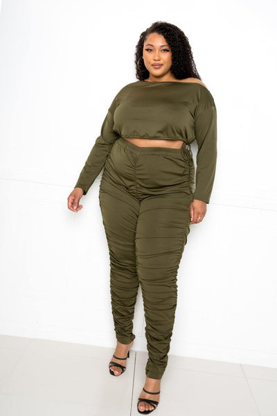 Off Shoulder Cropped Top And Ruched Leggings Sets