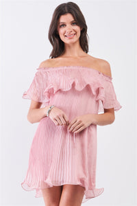 Pink Pleated Off-the-shoulder Double Layered Frill Trim Mini Dress