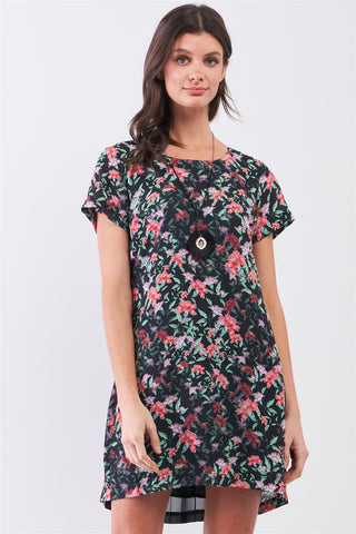 Black Multicolor Floral Print Pleated Back Detail Relaxed Mini Dress