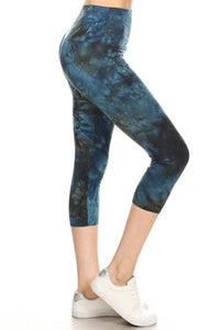 Yoga Style Banded Lined Tie Dye Printed Knit Capri Legging With High Waist.