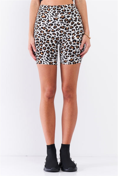 Leopard Print High Waisted Fitted Yoga Biker Shorts
