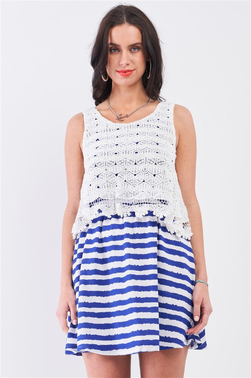 White & Navy Horizontal Striped Round Neck Sleeveless Floral Embroidery Layered Top Mini Dress