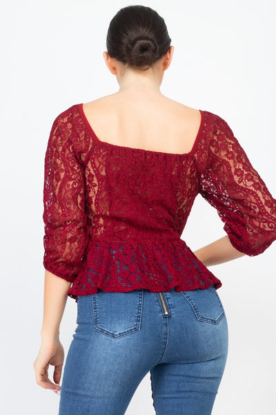 Smock Waist Lace Embroidered Top