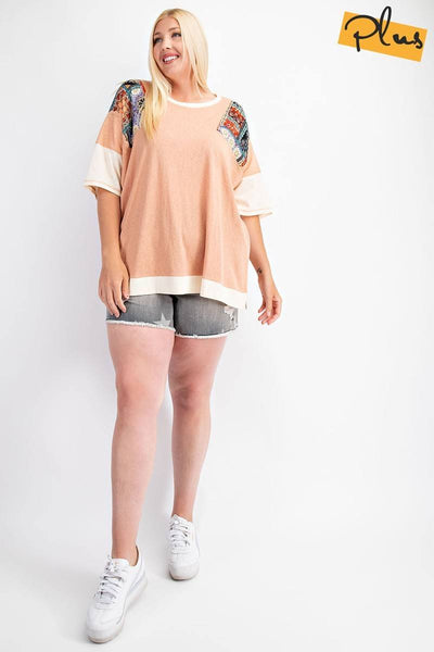Fun & Colorful Short Sleeves Cotton Slub Knit Color Block Top