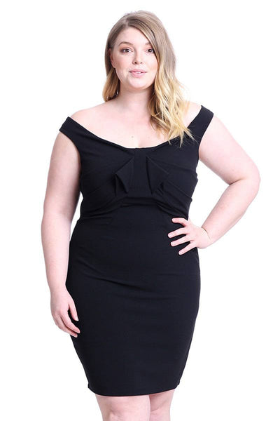 Techno Crepe Off The Shoulder Plus Size Mini Dress