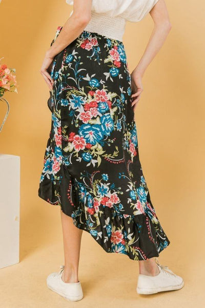 Floral Ruffle Skirt With Trim High Low.