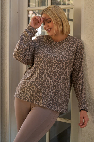 Plus Taupe & Black Cheetah Round Neck Long Sleeve Relaxed Fit Top