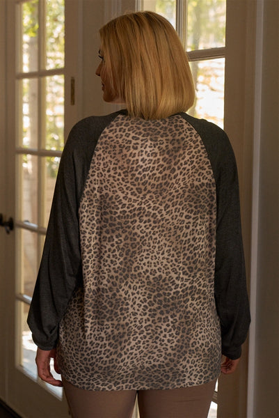 Plus Size Khaki & Charcoal Leopard Print Long Sleeve Relaxed Top