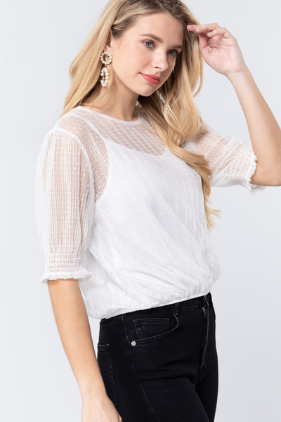 Elbow Slv Dot Mesh Top W/inner Cami