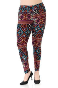 Plus Size Multi Print, Full Length Leggings In A Slim Fitting Style With A Banded High Waist