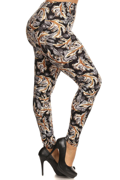 Abstract Leaf Print, Full Length Leggings In A Slim Fitting Style With A Banded High Waist
