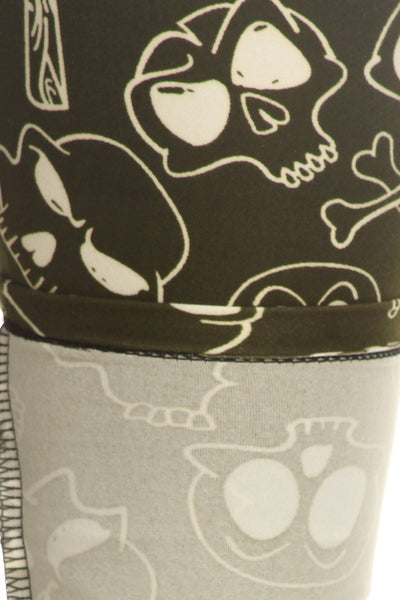 Skulls And Bones Graphic Printed Knit Legging With Elastic Waist Detail. High Waist Fit.