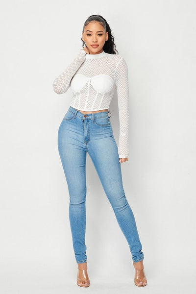 Sexy Mesh Mock Neck Top