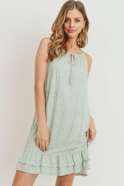Ruffled Floral Sleeveless Dress