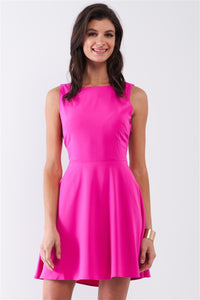 Bubblegum Pink Sleeveless Round Neck Self-tie Lace-up Back Detail Mini Dress
