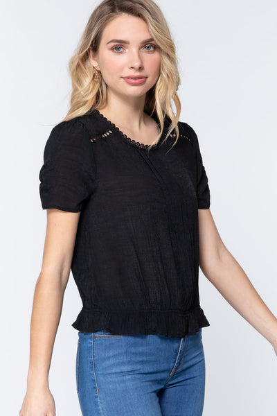 Short Shirring Slv Pleated Woven Top