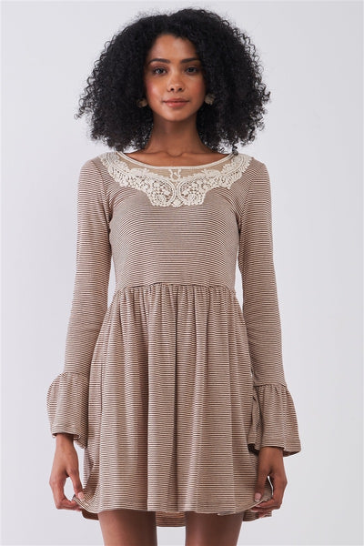 Taupe Horizontal Stripped Embroidery Detail Long Sleeve With Flare Hem Mini Dress