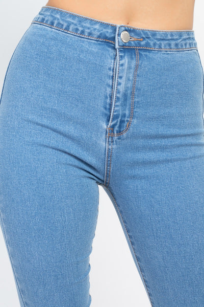 High Waist Zippered Denim