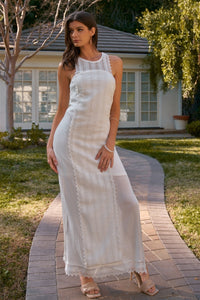Boho Chic Crochet Embroidery Trim Sleeveless Round Neck Slit Detail Straight Maxi Dress