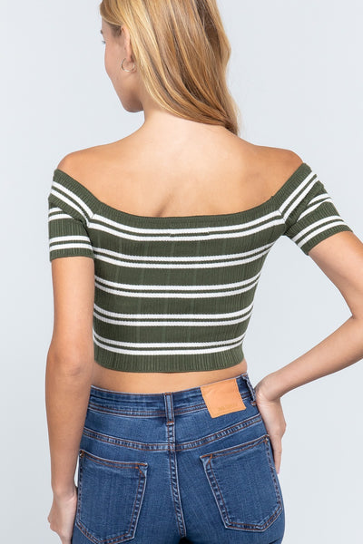 Off Shoulder Stripe Rib Sweater Top