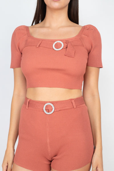Scoop Neck Crop Top And Ribbed Shorts