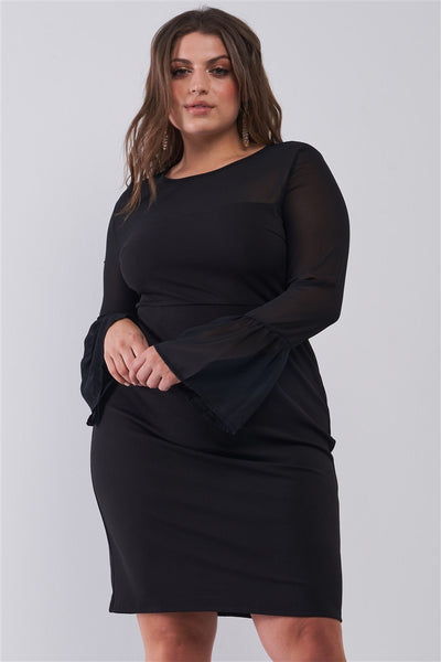 Plus Size Classy Black Round Neck Flared Sheer Mesh Sleeve Detail Structured Tight Mini Dress