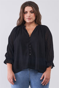 Plus Black Dotted Swiss V-neck Button Down Balloon Midi Sleeve With Elasticated Cuff Loose Fit Top