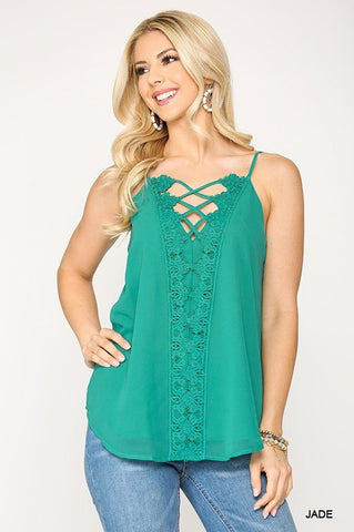 Plunging V-neckline Lattice Top