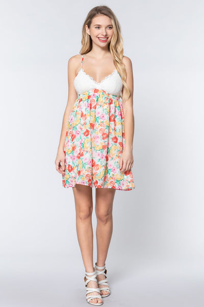 V-neck Open Back Floral Mini Dress