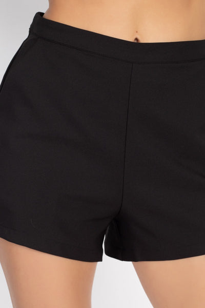 Back Zip-up Mini Shorts