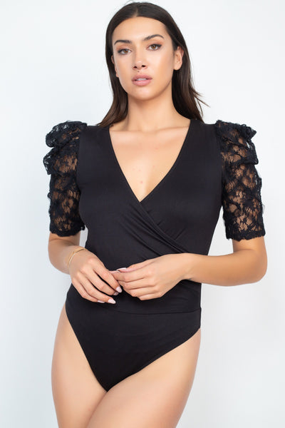 Lace-trim Puff Sleeves Bodysuit