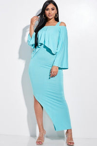 Solid Rayon Spandex Midi Length Tank Dress And Slouchy Cape Top Two Piece Set