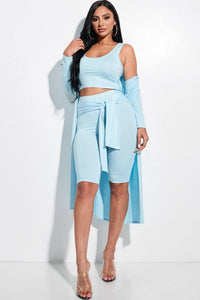 Solid Knit Sleeveless Tank Top, Tie Front Biker Shorts And Duster 3 Piece Set