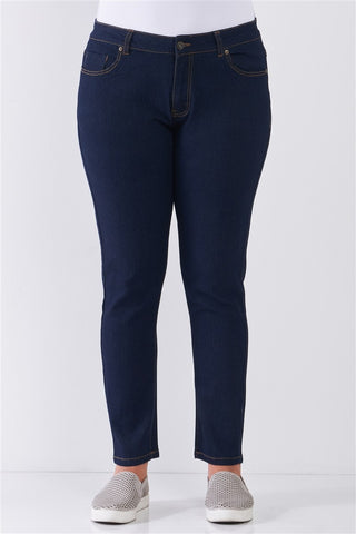 Plus Dark Blue Denim Mid-rise Skinny Jeans