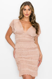 Plunging Shirred Top & Ruffled Skirt Set