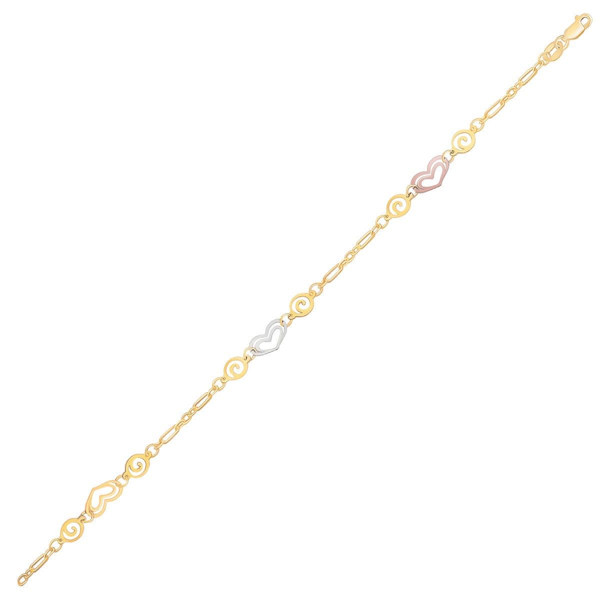 14K Tri-Color Gold Anklet with Multi Color Heart Stations