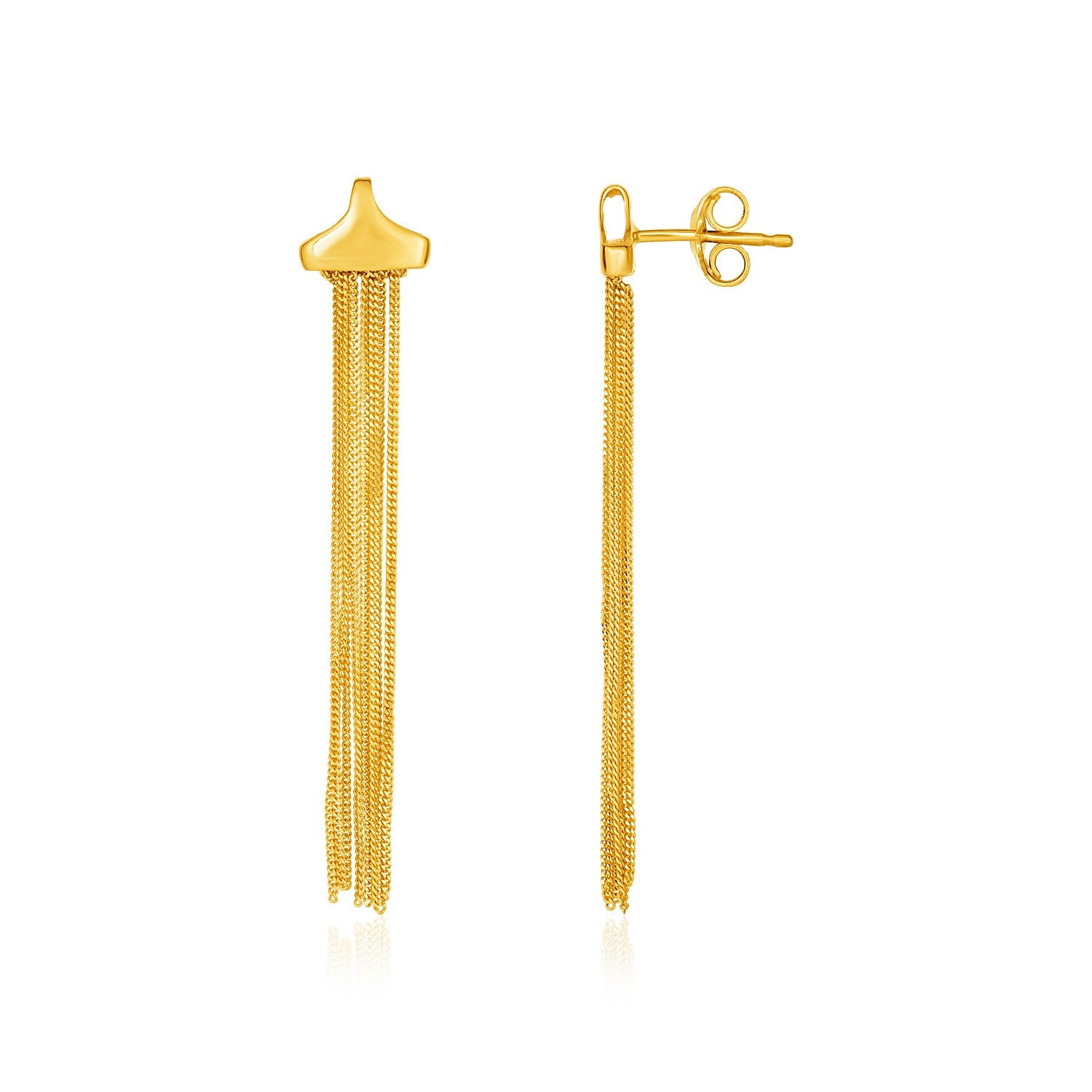 14K Yellow Gold Multi-Strand Drop Curb Chain Post Earrings
