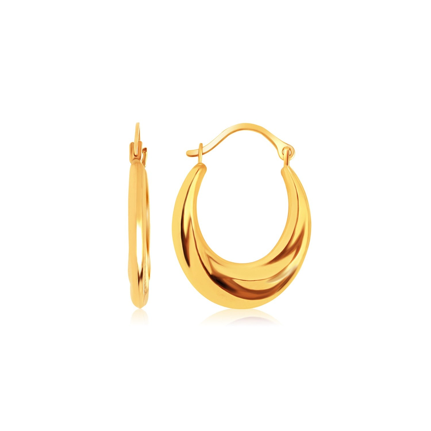 14K Yellow Gold Graduated Oval Hoop Earrings