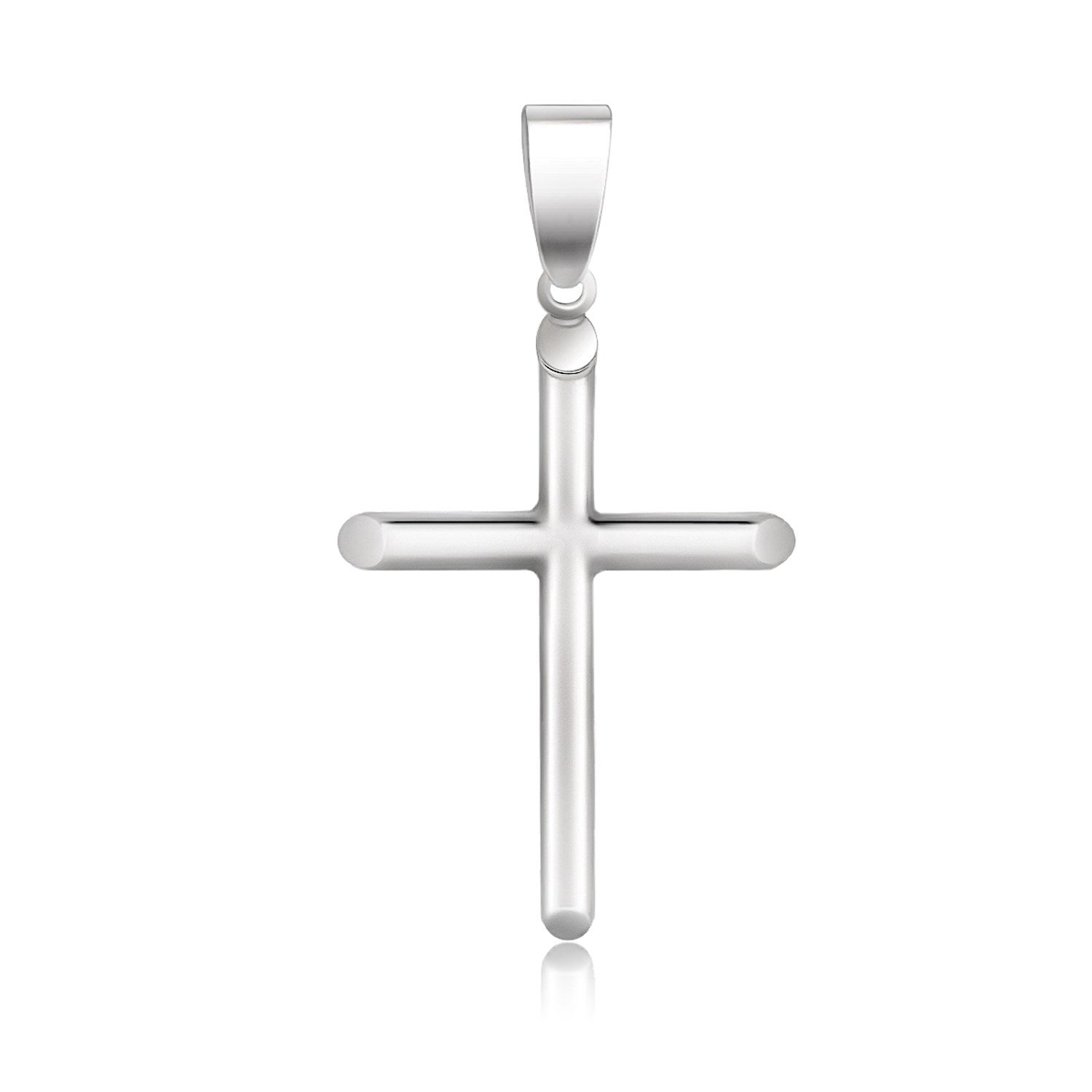 14k White Gold Slim Cross with Tapered Ends Pendant