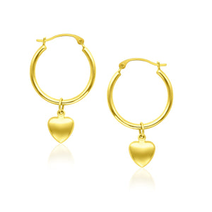 14K Yellow Gold Hoop Earrings with Dangling Puffed Heart