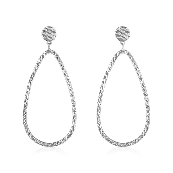 14k White Gold Textured Teardrop Motif Post Earrings